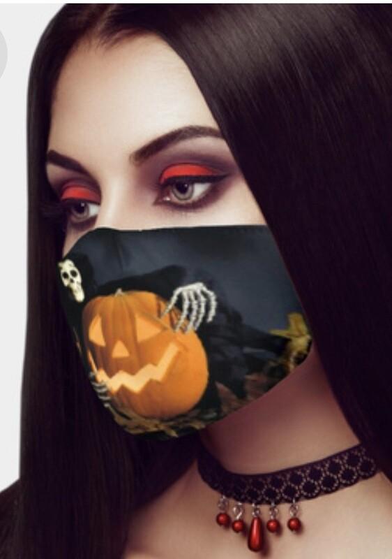 Pumpkin And Skull Face Mask