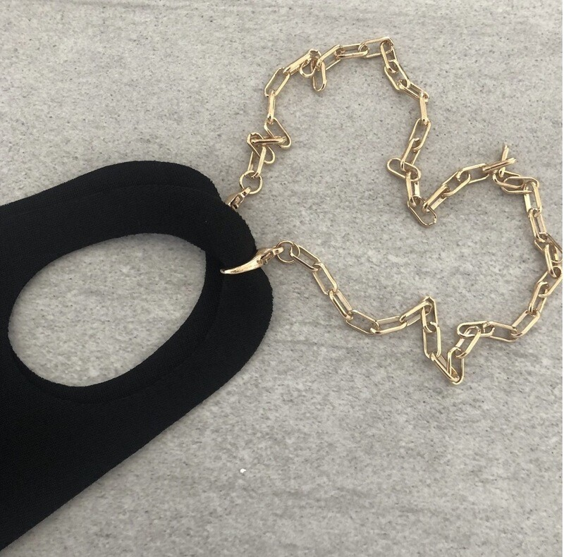 Gold Chain Link Mask Holder