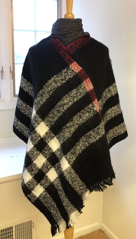Brit Plaid Poncho Black