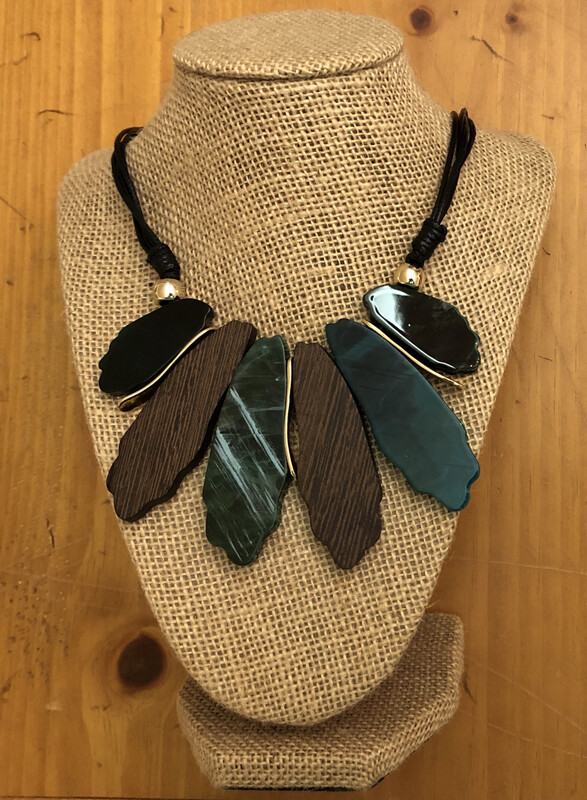 French Fan Green Two Sided Necklace