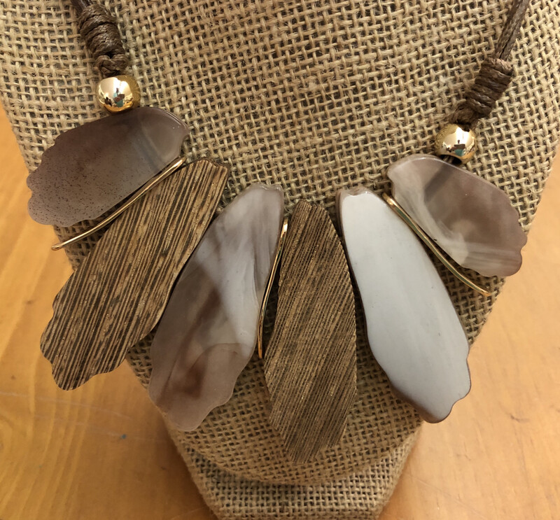 French Fan Beige Two Sided Necklace