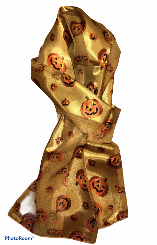 Halloween Pumpkins Scarf Gold