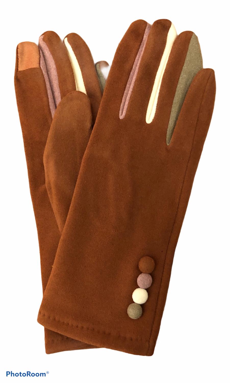 Color Button Brown E-Touch Gloves