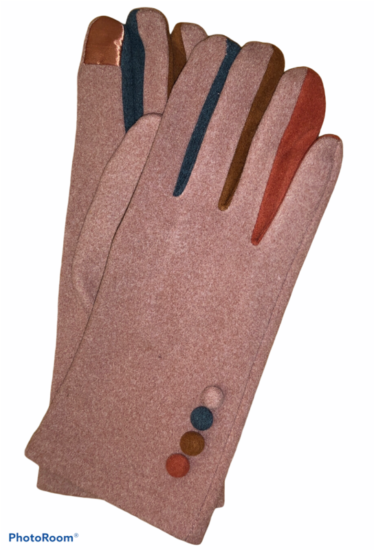 Color Button Pink E-Touch Gloves