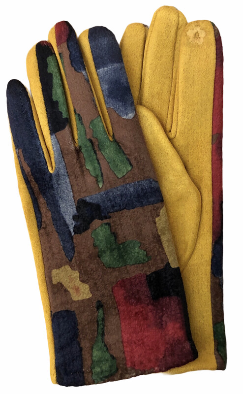 Abstract Faux Suede E-Touch Gloves Gold