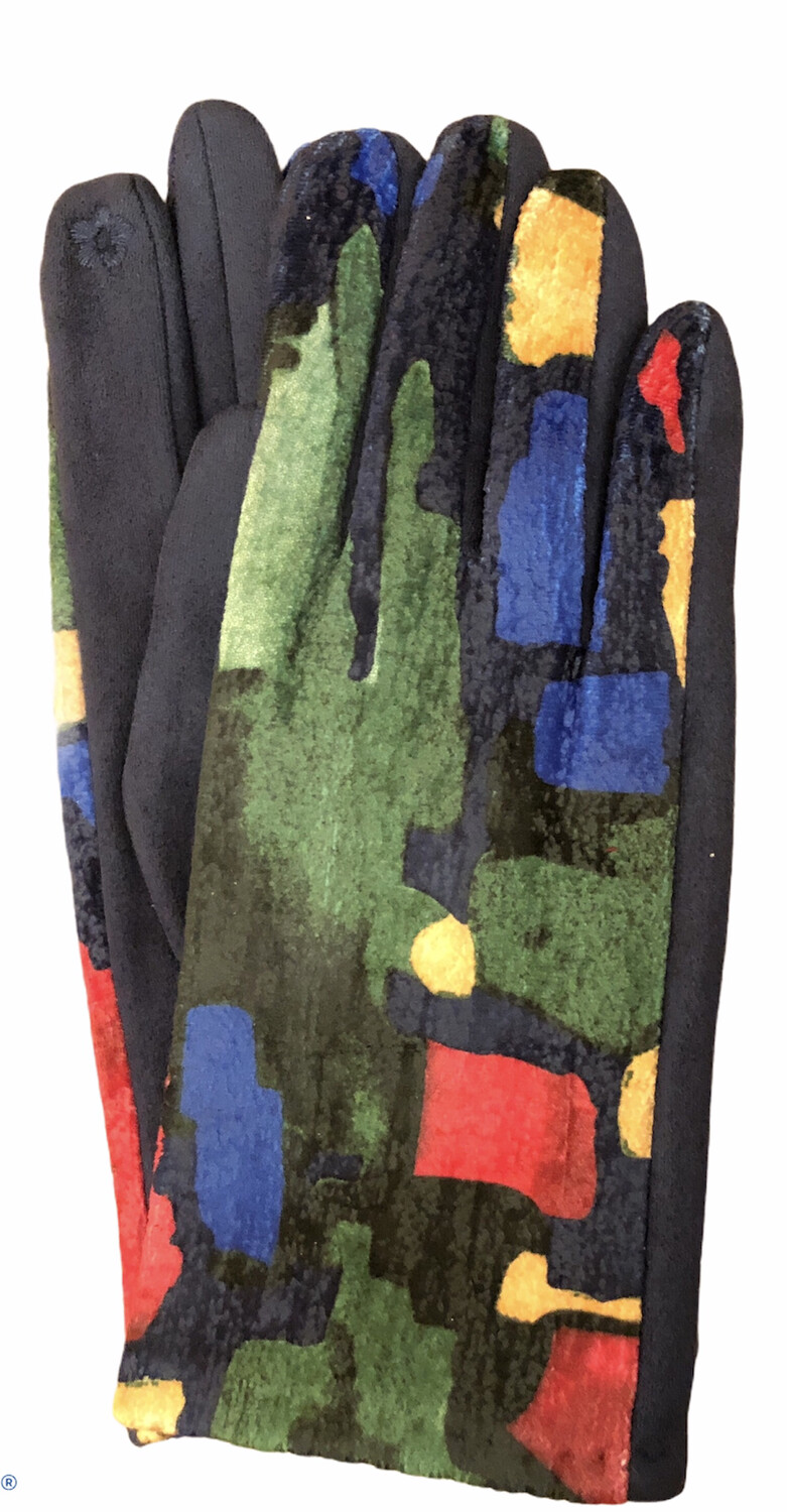 Abstract Faux Suede E-Touch Gloves Navy