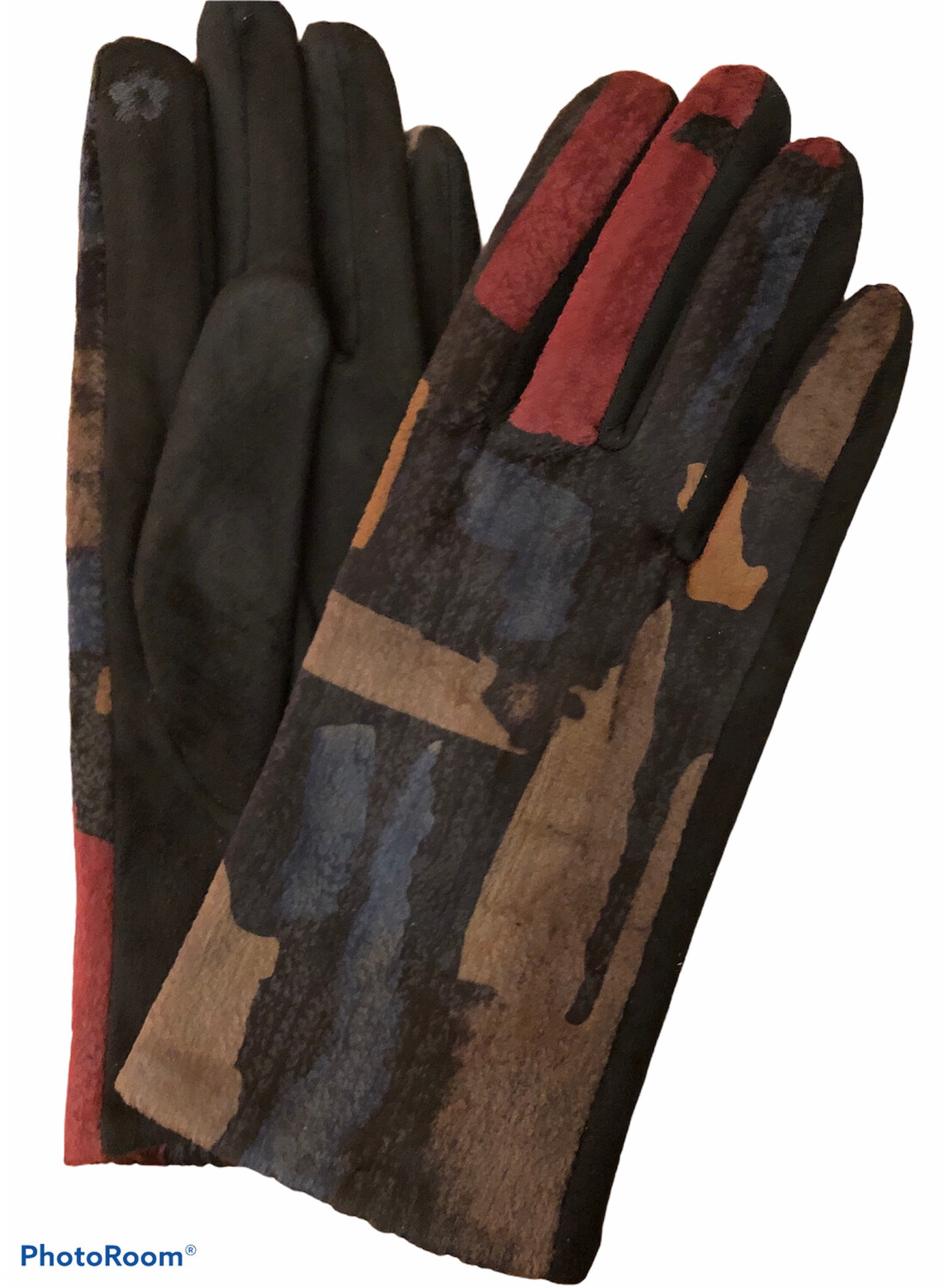 Abstract Faux Suede E-Touch Gloves Black