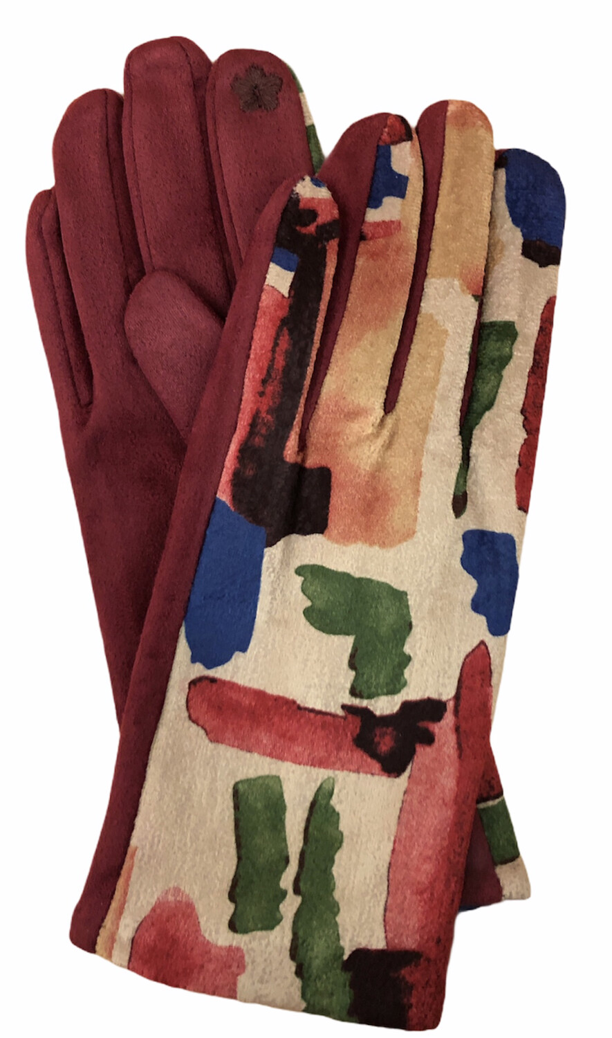 Abstract Faux Suede E-Touch Gloves Burgundy