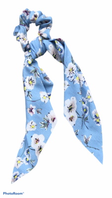 Print Bow Twister/Scrunchie Blue