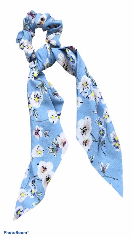 Print Bow Twister/Scrunchie Blue