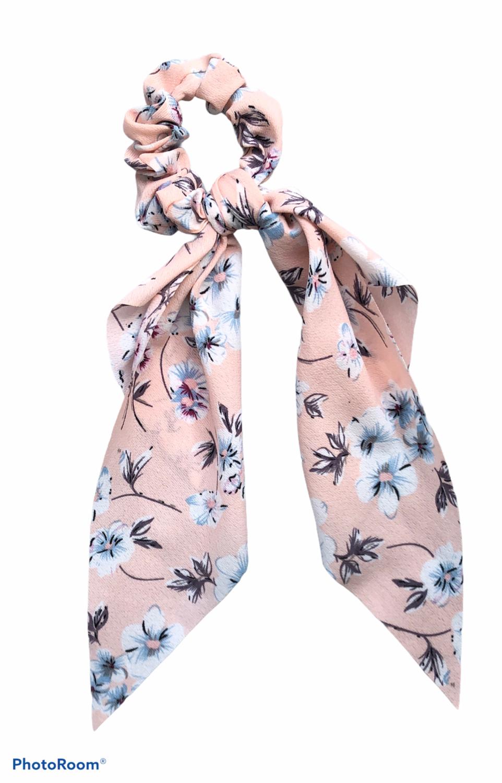 Print Bow Twister/Scrunchie Pink