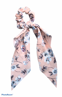 Print Bow Twister/Scrunchie Pink