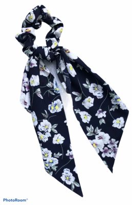 Print Bow Twister/Scrunchie Black