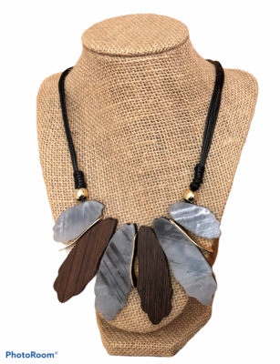 French Fan Gray Two Sided Necklace