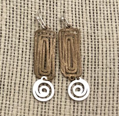 Matte 2Tone Drop Earrings