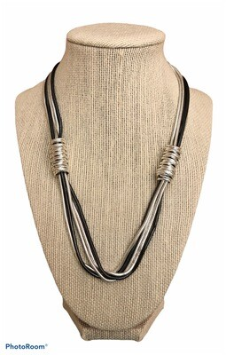 2 Tone Silver Gray Chain/Coils Necklace From France