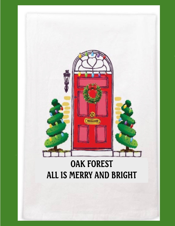 Oak Forest Christmas Dish Towel