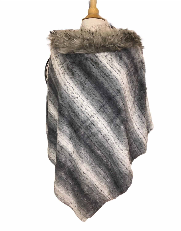 Stripe Faux Fur Poncho