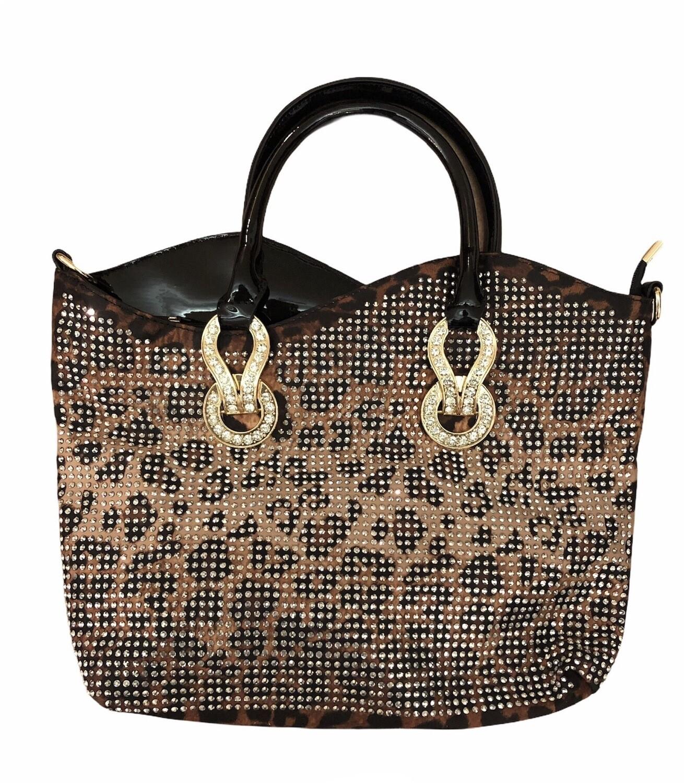 Leopard Crystal Detail Handbag