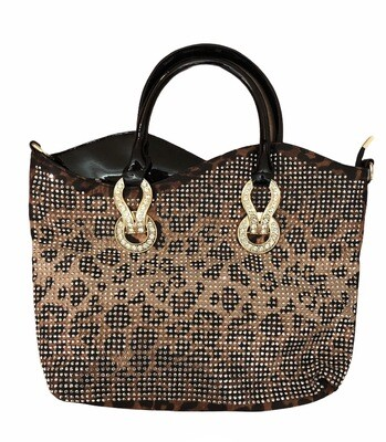 Leopard Crystal Detail Handbag