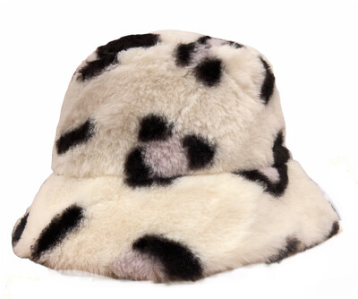 Leopard Faux Fur Ivory Hat