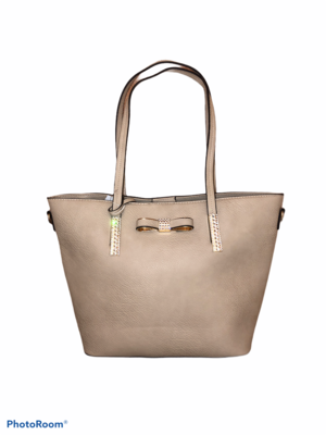 Crystal Bow Tote Bag Putty