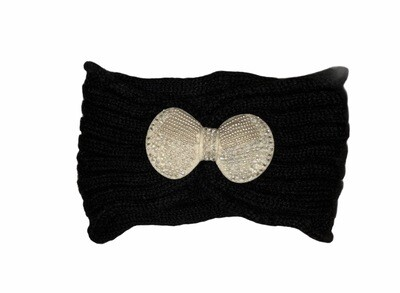 Pearl Bow Knit Head Wrap Black