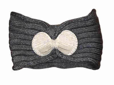 Pearl Bow Knit Head Wrap Gray