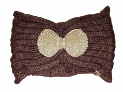 Pearl Bow Knit Head Wrap Dark Pink