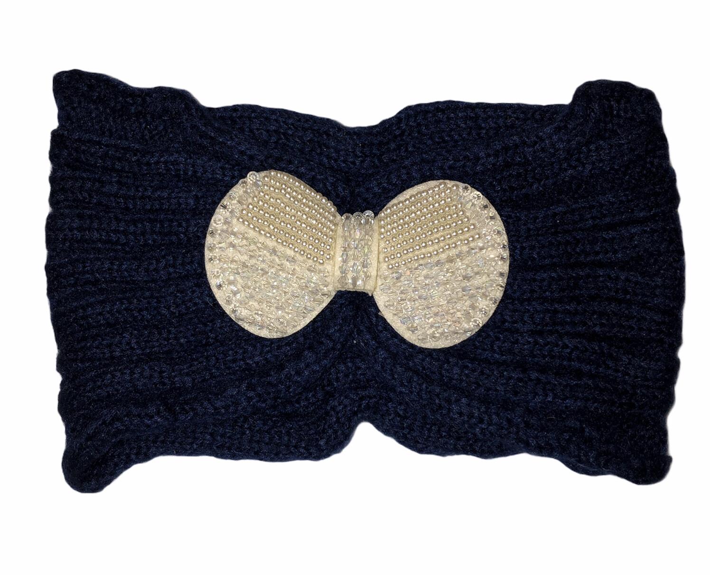 Pearl Bow Knit Head Wrap Navy