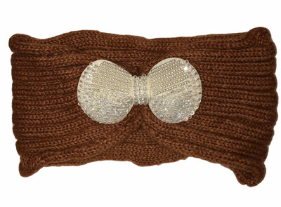 Pearl Bow Knit Head Wrap Rust