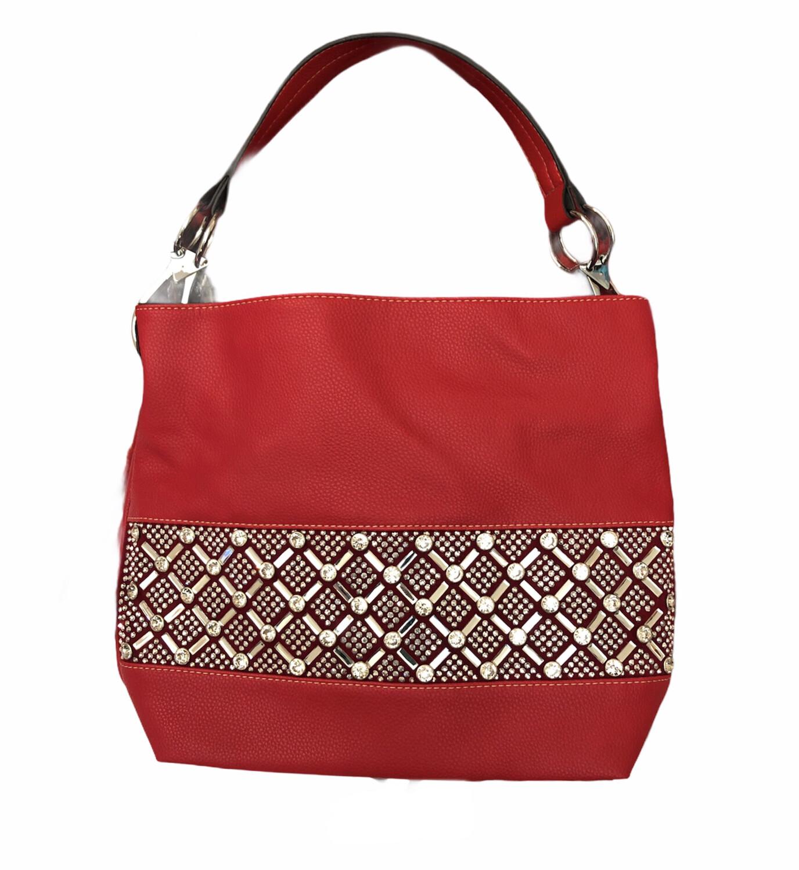Crystal X & O's Handbag Red