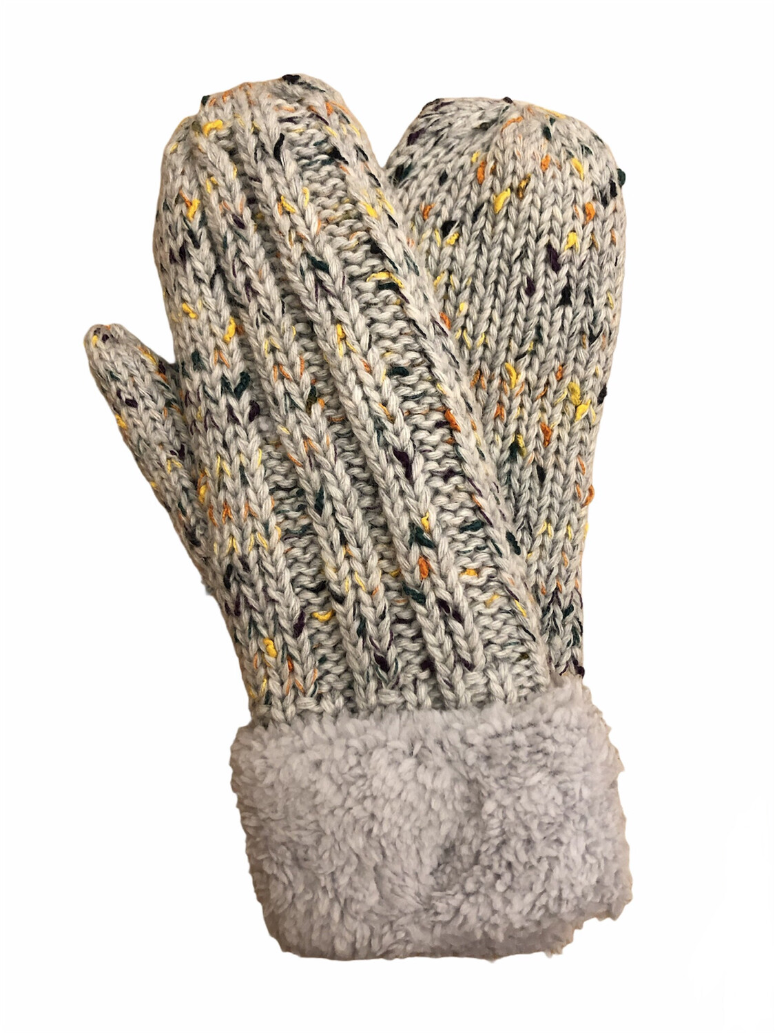 Confetti Double Thick Mittens Light Gray