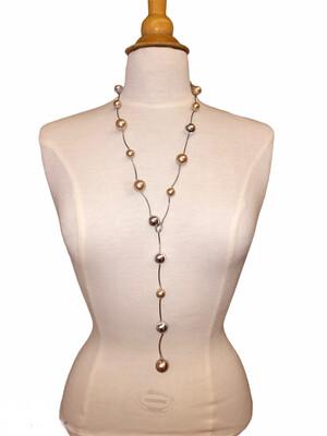 Matte/Shiny Beads Necklace Blush/Silver