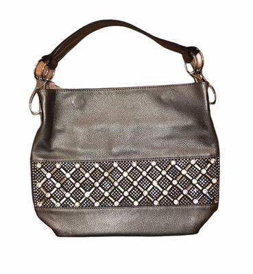 Crystal X & O's Handbag Silver