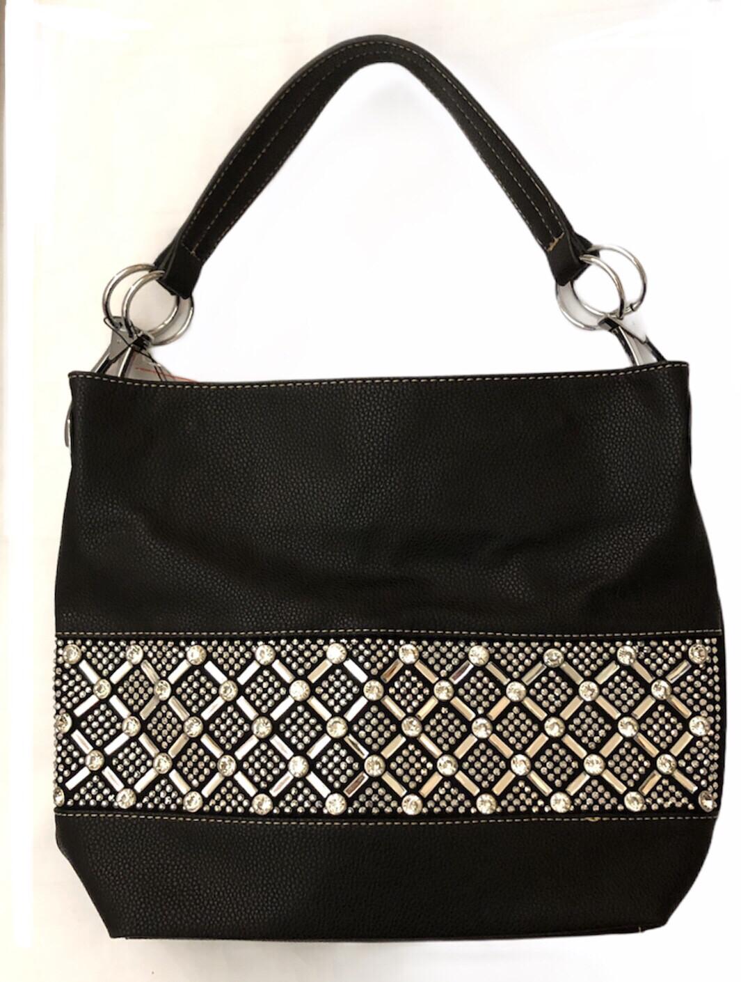 Crystal X & O's Handbag Black
