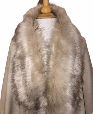 Faux Fur Collar & Cuff Coat Beige