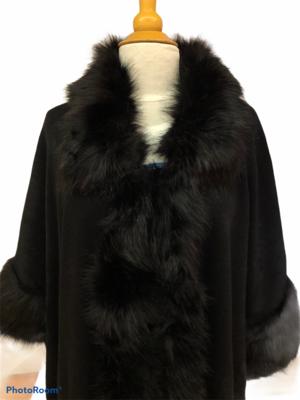 Faux Fur Collar & Cuff Coat Black