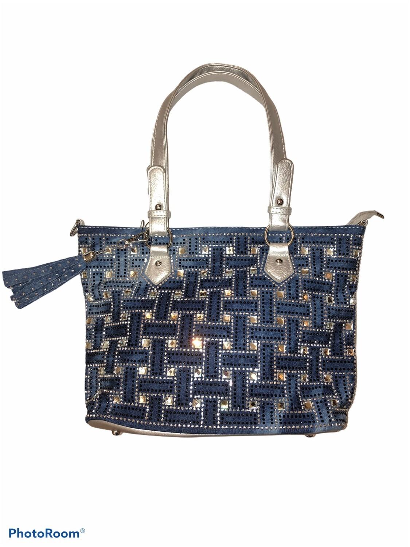 Denim &Silver Tassel Crystal Bag