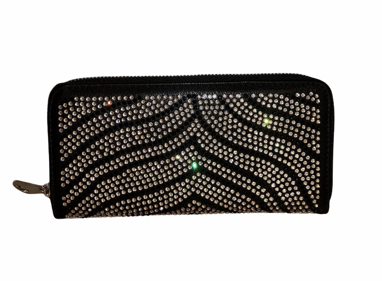 Crystal Stripe 3 Section Black Wallet