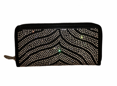 Crystal Stripe 3 Section Black Wallet
