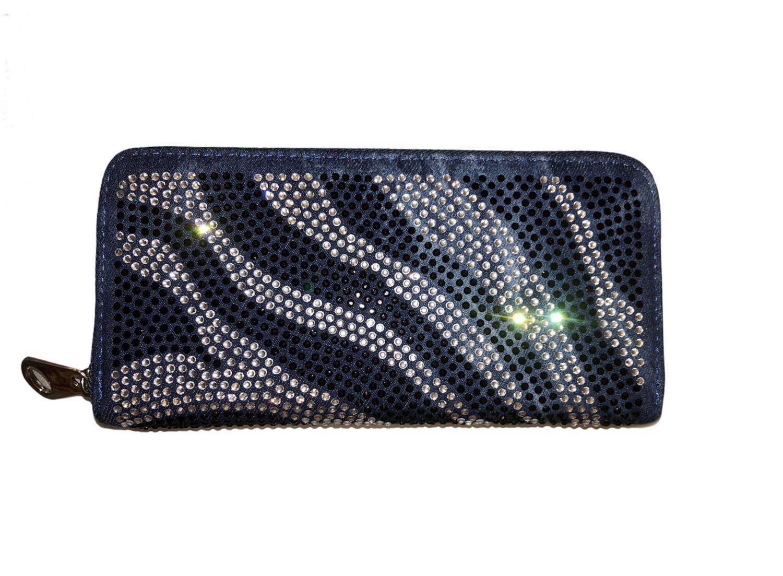 Crystal Stripe 3 Section Denim Wallet