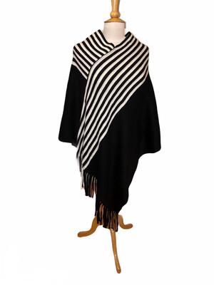 Black/White Stripe Fringe Poncho