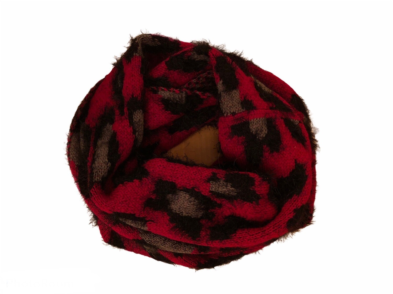 Leopard Eyelash Infinity Scarf Red