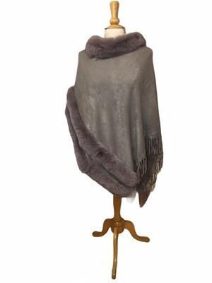 Faux Fur/Fringe Knit Poncho Gray
