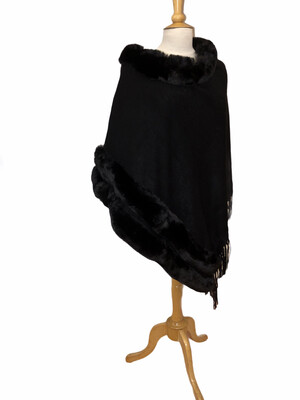 Faux Fur/Fringe Knit Poncho Black