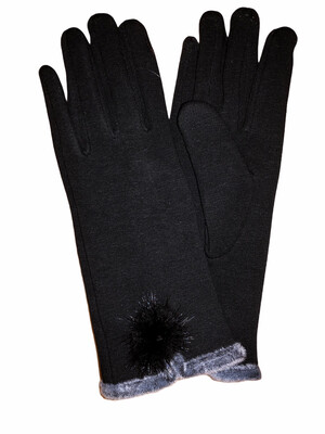 Faux Fur Pom Pom Thermal Gloves