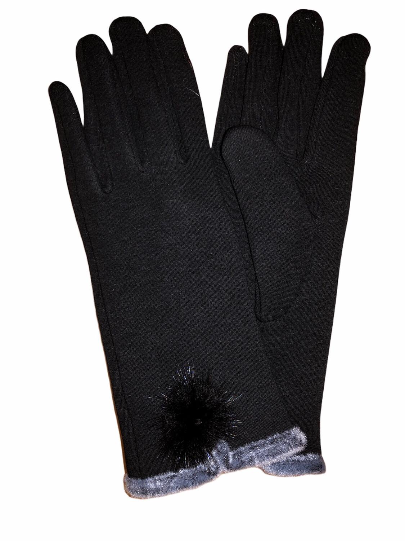 Faux Fur Pom Pom Thermal Gloves