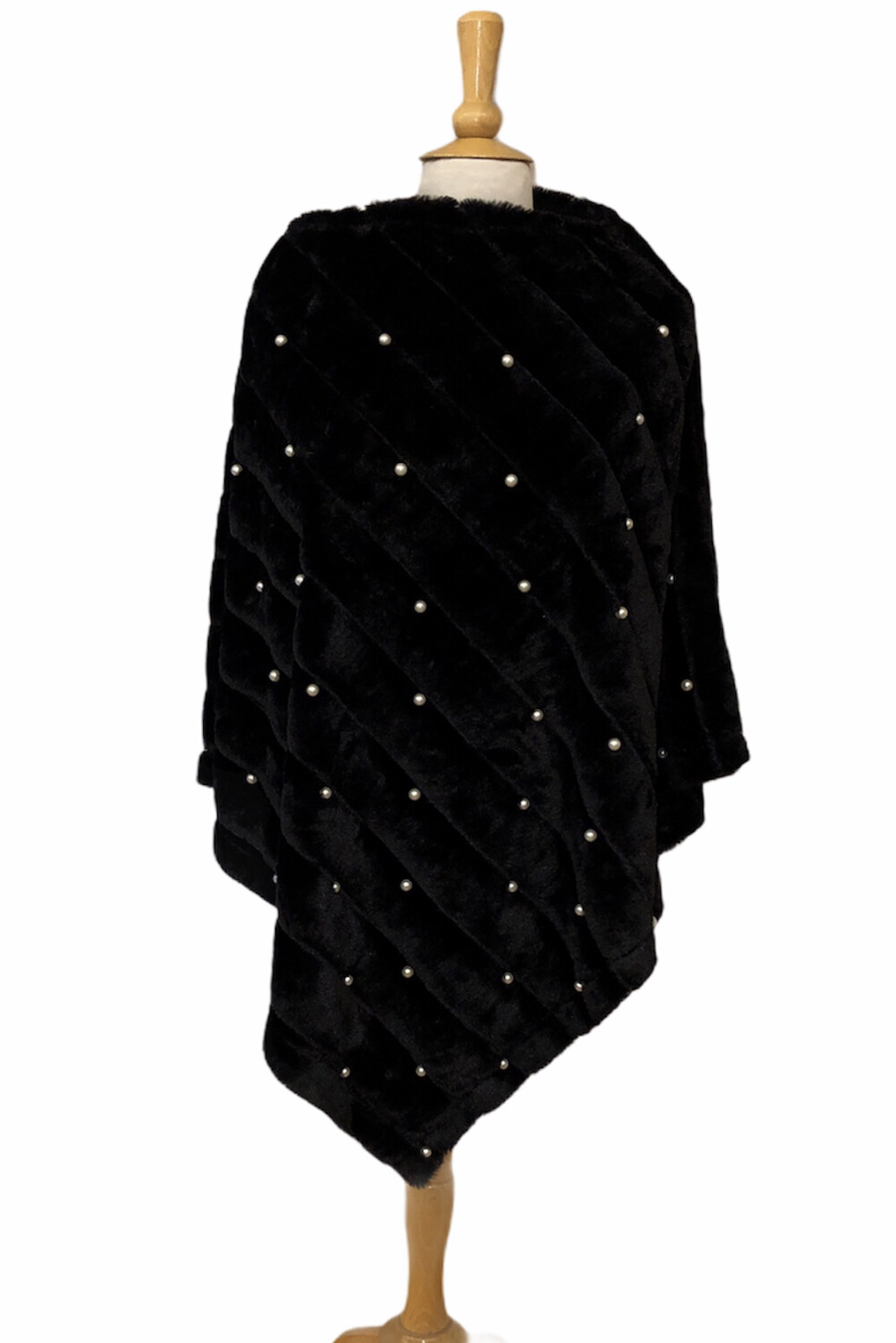 Faux Fur Pearl Poncho Black