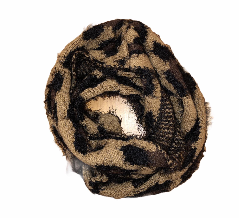Leopard Eyelash Infinity Scarf Tan
